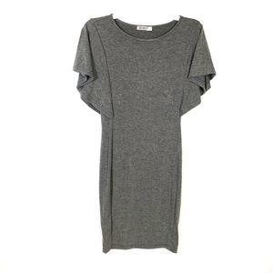 Hutot Gray Bodycon Dress Midi Flutter Sleeves S